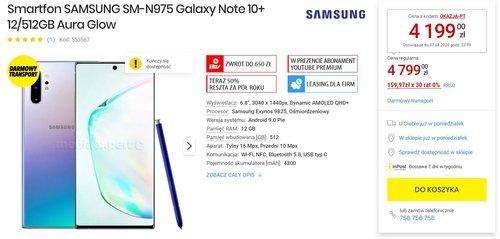 Promocyjna cena Galaxy Note 10+ w Media Expert (pamiętaj o kodzie rabatowym)