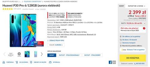 Promocyjna cena Huawei P30 Pro w RTV Euro AGD