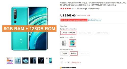 Promocyjna cena Xiaomi Mi 10 na AliExpress