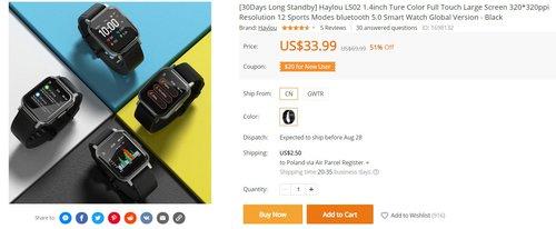 Xiaomi Haylou LS02 to tani i bardzo dobrze wyposażony smartwatch