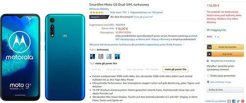 Motorola Moto G8 Power Lite w promocji za 560 złotych