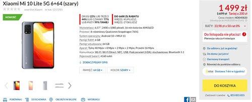 Xiaomi Mi 10 Lite 5G w dobrej cenie