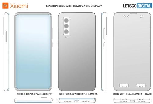 Patent Xiaomi na smartfon z odczepianym ekranem/fot. LetsGoDigital