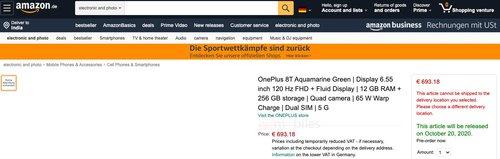 OnePlus 8T na Amazon.de / fot. 91Mobiles