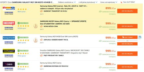 Ceny Galaxy M21 w polskich sklepach (dane Ceneo)