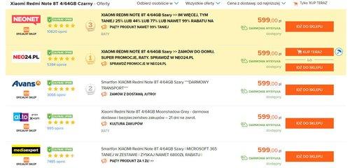 Promocyjna cena Xiaomi Redmi Note 8T w polskich sklepach / dane Ceneo