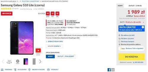 Samsung Galaxy S10 Lite w promocji sklepu RTV Euro AGD