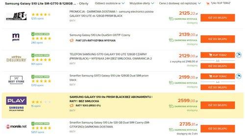 Ceny Galaxy S10 Lite w polskich sklepach / dane Ceneo