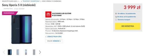 Sony Xperia 5 II w RTV Euro AGD - oto polska cena