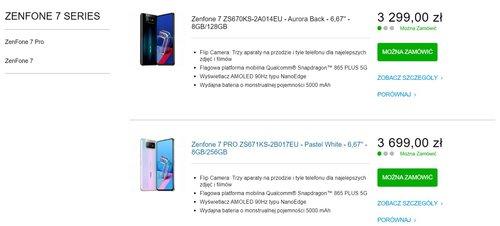 Польские цены на ZenFone 7 серии в магазине ASUS