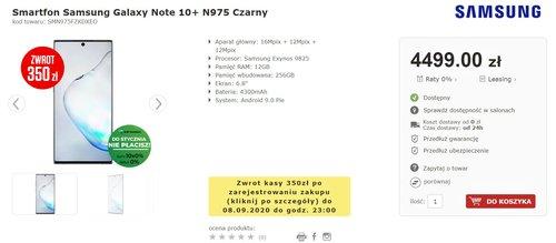Лучшая цена на Galaxy Note 10+ в официальной польской раздаче - помните о возврате!