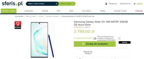 Лучшая цена на Galaxy Note 10+ от известного импортера в Польше