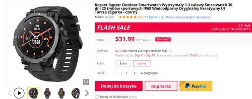 Kosper Raport to odporny smartwatch z IP68 w dobrej cenie
