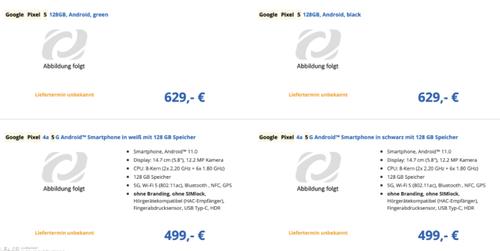 Ceny Google Pixel 4a 5G oraz Google Pixel 5s w Europie/fot. SlashLeaks
