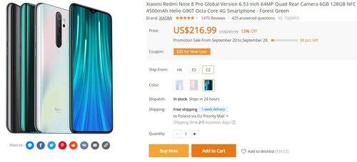 Redmi Note 8 Pro w mocniejszej wersji za mniej niż 800 złotych z wysyłką z Europy