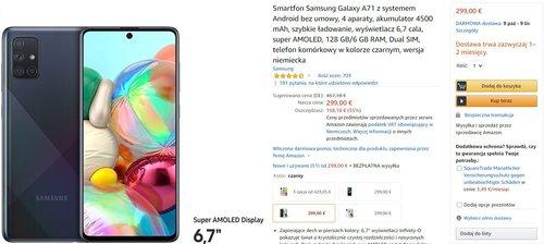 Samsung Galaxy A71 za 1430 złotych to bardzo przyzwoita promocja/fot. Amazon