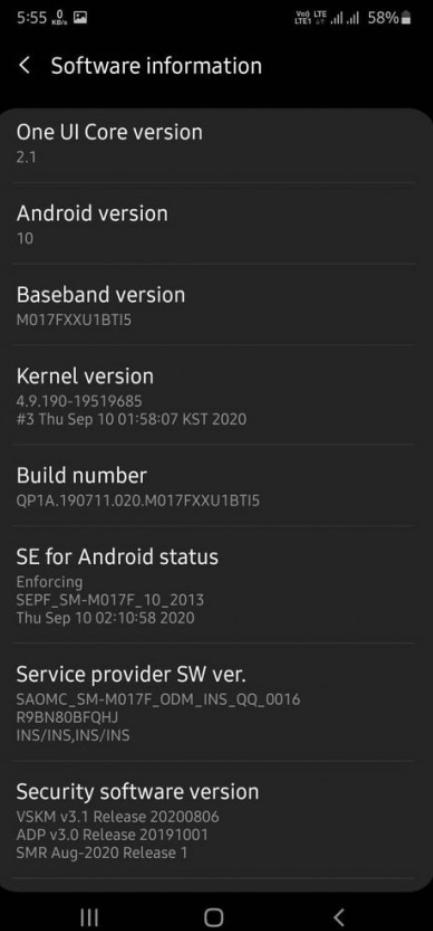 Samsung Galaxy M31 już z OneUI 2.1.fot. GSMarena