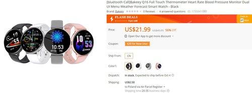 Smartwatch za 20 dolarów z wodoodpornością IP67 i niezłą baterią w dobrej promocji