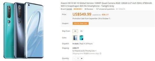 Xiaomi Mi 10 za nieco ponad 2100 złotych w promocji to genialny zakup