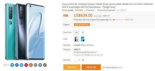 Xiaomi Mi 10 za mniej niż 2100 złotych to doskonały smartfon