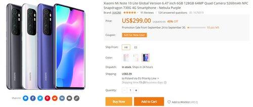 Xiaomi Mi Note 10 Lite w wersji 6/128 GB za mniej niż 1200 złotych to bardzo opłacalny zakup