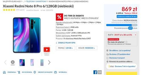 Promocyjna cena Xiaomi Redmi Note 8 Pro w RTV Euro AGD