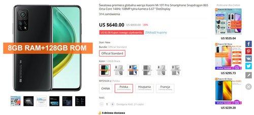 Акционная цена Xiaomi Mi 10T Pro на AliExpress