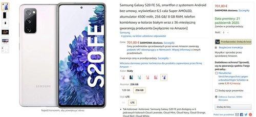 Samsung Galaxy S20 FE 5G (8/256 GB) w przedsprzedaży na Amazon.de