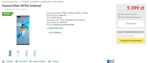 Polska cena Huawei Mate 40 Pro ujawniona przez RTV Euro AGD