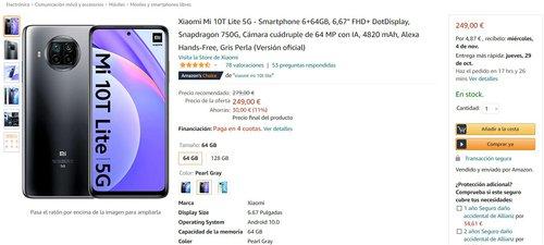 Promocyjna cena Xiaomi Mi 10T Lite 5G na Amazon.es