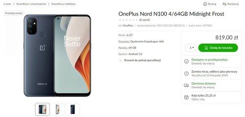 Cena OnePlus Nord N100 w Polsce / fot. x-kom