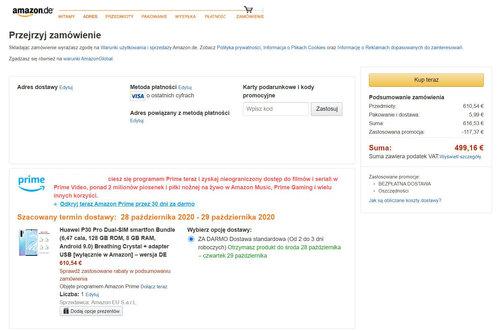 Promocyjna cena Huawei P30 Pro na Amazon.de