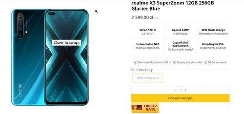 Вы можете купить Realme X3 SuperZoom с понедельника за 1599 злотых.