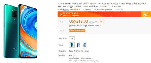 Redmi Note 9 Pro в хорошей акции на Banggood