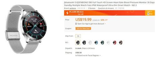 Senbono S80 z IP68 za 77 złotych to świetny wybór na pierwszy smartwatch/fot. Banggood