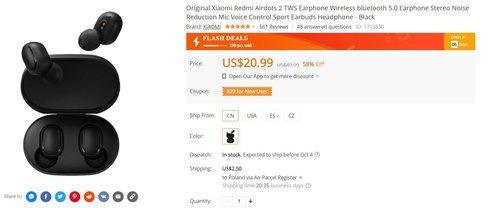 Xiaomi Mi AirDots 2 в акции за 65 злотых - отличные наушники TWS