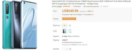 Xiaomi Mi 10 w takiej cenie to wymarzony zakup/fot. Banggood