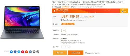 Xiaomi Mi Notebook Pro 2020 w najmocniejszej wersji w dobrej promocji