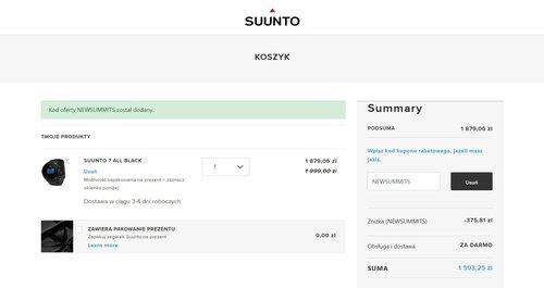 Suunto 7: promocja w oficjalnym sklepie - finałowa cena po zastosowaniu kodu
