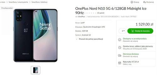 OnePlus Nord N10 5G w przedsprzedaży sklepu x-kom (cena)