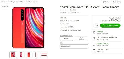 Promocja na Xiaomi Redmi Note 8 Pro w x-kom i al.to).