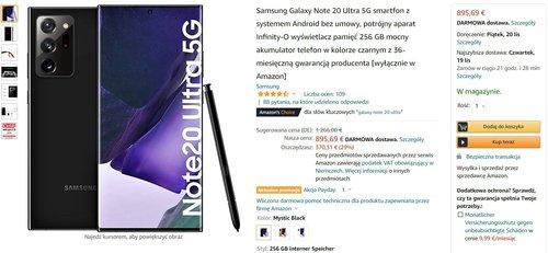 Promocyjna cena Samsung Galaxy Note 20 Ultra na Amazon.de