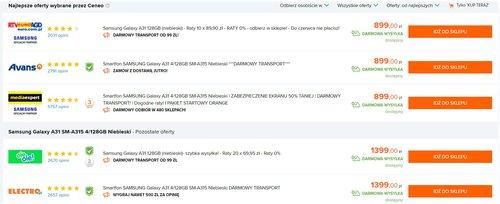 Cena Galaxy A31 w polskich sklepach - dane Ceneo