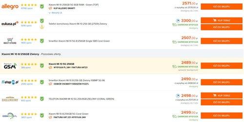 Najniższe ceny Xiaomi Mi 10 (256 GB) w polskich sklepach według Ceneo
