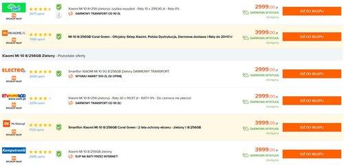 Ceny Xiaomi Mi 10 (256 GB) w oficjalnej polskiej dystrybucji