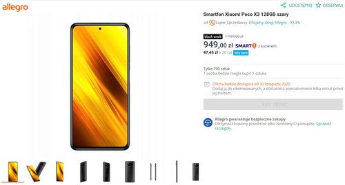 Promocyjna cena Xiaomi POCO X3 NFC 128 GB w sklepie Allegro w dniu 30 listopada 2020