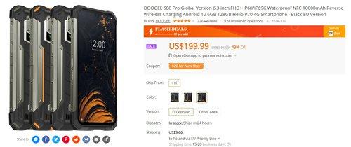 Doogee S88 to tani smartfon z baterią 10000 mAh i 6 GB RAM za grosze