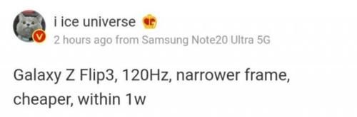 Samsung Galaxy Z Flip 3 otrzyma kilka istotnych usprawnień/fot. IceUniverse