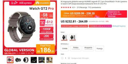 Huawei Watch GT2 Pro za mniej niż 800 złotych to świetna okazja do zakupu flagowego smartwatcha