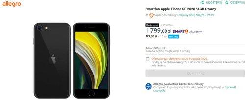 iPhone SE za 1799 złotych to świetna okazja na pierwszego iPhone'a/fot. Allegro